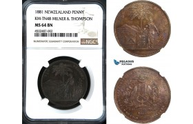 AC064, New Zealand, Token Penny 1881, KM-TN48, Milner & Thompson, NGC MS64BN