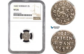 AC065, Norway, Christian IV, 2 Skilling 1642, Silver, NGC VF25