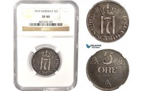 AC067, Norway, Haakon VII, 5 Øre 1919, Iron, Kongsberg, NGC XF40