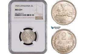 AC069, Lithuania, 2 Litu 1925, Silver, NGC MS63+