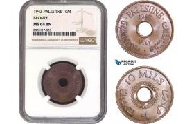 AC071, Palestine, 10 Mils 1942, London, Bronze, NGC MS64BN