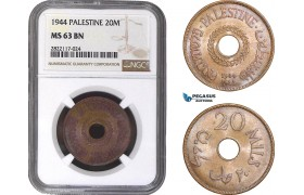 AC072, Palestine, 20 Mils 1944, London, NGC MS63BN