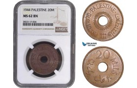 AC074, Palestine, 20 Mils 1944, London, NGC MS62BN