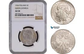 AC075, Poland, 5 Zlotych 1934, Silver, NGC AU58