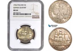 "AC076, Poland, 5 Zlotych 1936 ""Gdynia Seaport"" Silver, NGC MS64"