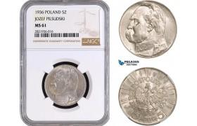 """AC077, Poland, 5 Zlotych 1936 """"Jozef Pilsudski"""" Silver, NGC MS61"""