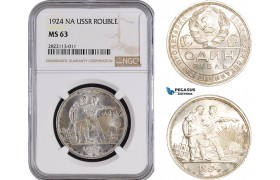 AC083-R, Russia (Soviet Union) Rouble 1924, Leningrad, Silver, NGC MS63