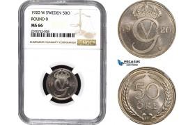 AC088, Sweden, Gustaf V, 50 Öre 1920 W, Stockholm, Round 0, NGC MS66, Pop 1/0