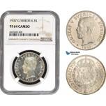 AC089, Sweden, Gustaf V, 2 Kronor 1937 G, Stockholm, Silver, NGC PF64 Cameo, Pop 1/0