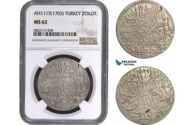 AC090, Ottoman Empire, Turkey, Ahmed III, Zoloto AH1115 (1703) Islambul, NGC MS62, Pop 1/2