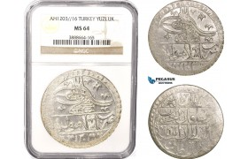AC091, Ottoman Empire, Turkey, Selim III, Yuzluk AH1203/16, Islambul (Istanbul) NGC MS64