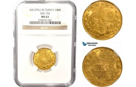 AC092, Ottoman Empire, Turkey, Abdülhamid II, 100 Kurush AH1293/33, Kostantiniye, Gold, NGC MS63