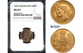 AC094, Yugoslavia, Alexandar I, 20 Dinara 1925, Paris, Gold, NGC MS65+