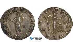 AC095, Bactria, Indo-Scythian Kings. Maues, ca. 90-70 BC., AR Tetradrachm (9.28g) Taxila, ca. 90 BC, Zeus/Nike