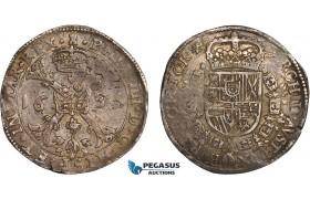 AC097, Belgium, Tournai, Philip IV, Patagon 1635, Silver (27.71g) Toned VF-XF