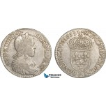 AC100, France, Louis XIV, 1/2 Ecu 1653-P, Dijon, Silver (13.35g) VF