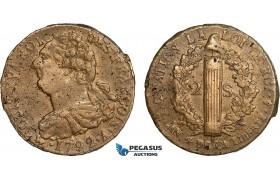AC101, France, Louis XVI, 2 Sols 1792-A, Paris, Bronze, XF