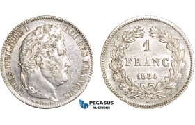 AC102, France, Louis Philippe I, 1 Franc 1834-W, Lille, Silver, Cleaned AU (SUP)