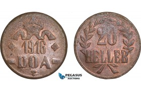 AC104, German East Africa (DOA) 20 Heller 1916-T, Tabora, Lustrous UNC (Scratched)