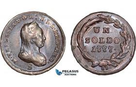 AC108, Italy, Lombardy, Maria Theresia, 1 Soldo 1777-S, Schmöllnitz, Lustrous XF-AU