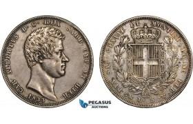 AC109, Italy, Sardinia, Carlo Alberto, 5 Lire 1833-P, Genoa, Silver, Toned XF