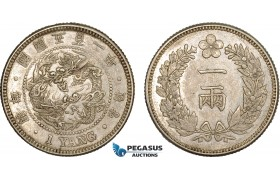 AC110, Korea, Yi Hyong, Yang Yr. KK502 (1893) Silver, Cleaned AU