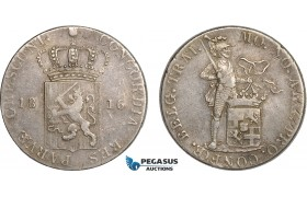 AC112, Netherlands, Rijksdaalder (Silver Ducat) 1816, Utrecht, Silver (28.03) Cleaned F-VF (Small Scratches in fields) Rare!
