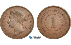 AC119, Straits Settlements, Victoria, 1 Cent 1883, VF