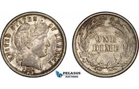AC126, United States, Barber Dime (10C) 1911, Philadelphia, Silver, Toned AU