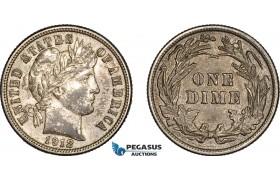 AC127, United States, Barber Dime (10C) 1912, Philadelphia, Silver, Toned AU