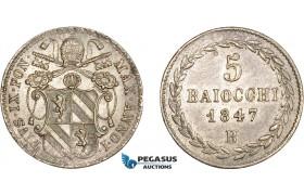 AC140, Italy, Papal, Pius IX, 5 Baiocchi 1847-B, Bologna, Silver, AU