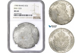 AC144, France, Louis XVI, Ecu 1790-I, Limoges, Silver, NGC MS60
