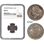 AC145, France, Louis XVIII, 1/2 Franc 1816-W, Lille, Silver, NGC MS62, Pop 2/0, Rare!