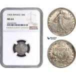 AC146, France, Third Republic, 50 Centimes 1905, Paris, Silver, NGC MS64