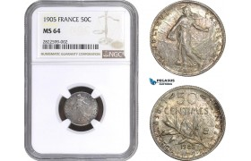 AC146, France, Third Republic, 50 Centimes 1905, Paris, Silver, NGC MS64