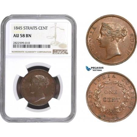 AC151, Straits Settlements, Victoria, 1 Cent 1845, NGC AU58BN