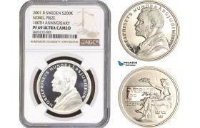 AC155, Sweden, Nobel Prize Centennial 200 Kronor 2001, Stockholm, Silver, NGC PF69UC, Pop 1/0