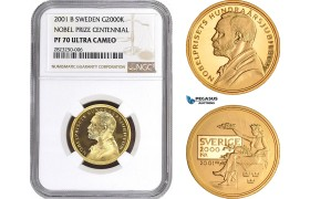 AC156, Sweden, Nobel Prize Centennial 2000 Kronor 2001, Stockholm, Gold, NGC PF70UC, Pop 1/0