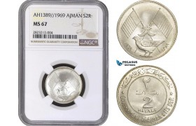 AC157, United Arab Emirates, Ajman, 2 Riyals AH1389 / 1969, Silver, NGC MS67, Pop 6/0