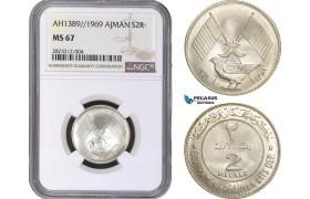 AC157, United Arab Emirates, Ajman, 2 Riyals AH1389 / 1969, Silver, NGC MS67, Pop 6/0