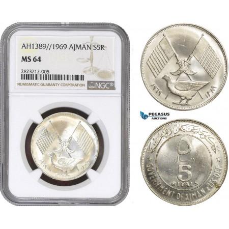 AC158, United Arab Emirates, Ajman, 5 Riyals AH1389 / 1969, Silver, NGC MS64
