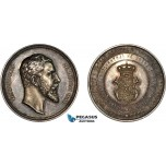 AC160, Bulgaria, Alexander I, Silver Medal 1886 (Ø36mm, 22.0g) by Schiller, On his Reign, RR!!