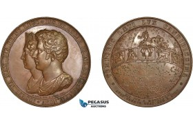 AC171, Sweden & Germany, Bronze Medal 1823 (Ø59.6mm, 120g) by Loos & Gube, Astronomy, Wedding of Oscar I