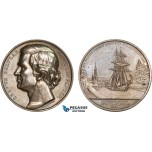 AC174, Sweden, Silver Medal 1882 (Ø53mm, 67g) by Ahlborn, Graf Baltzar Bogislaus, Gota Canal, Ship