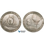 AC175, Sweden & Norway, Tin Medal 1896 (Ø50mm, 54.4g) by Hogel, Expedition, Salomon August Andree Air Balloon  Expedition