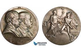 AC178, Sweden, Silver Art Nouveau Medal 1908 (Ø50.5mm, 74.2g) by Lindberg, Separator, America
