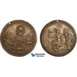 AC193, Italy, Bronze 16th Century Cast Medal (Ø71mm, 89.3g) Rome, Tiberinus, SPQR, Rare!