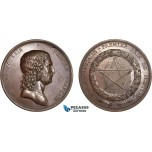 AC194, France, Bronze Medal 1797 (Ø56mm, 87g) by Dumarest, Nicolas Poussin, Fine Arts Academy, Rare!