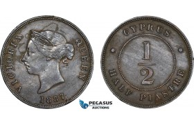 AC204, Cyprus, Victoria, 1/2 Piastre 1887, VF-XF