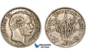AC206, Danish West Indies, Christian IX, 10 Cents 1878, Copenhagen, Silver, Toned AU
